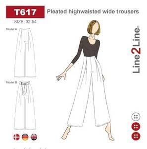 Bilde av Line2Line T617 Bukse med høyt liv, legg og vide ben