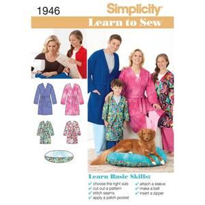 Bilde av Simplicity 1946 Morgenkåpe til mann, barn, dame og hundeseng