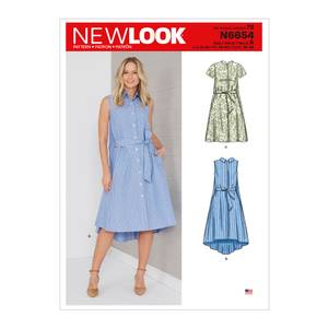 Bilde av New Look N6654 Skjortekjole med knyting