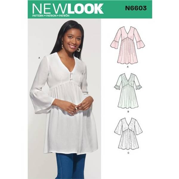 New Look N6603 Tunika, kort kjole og topp