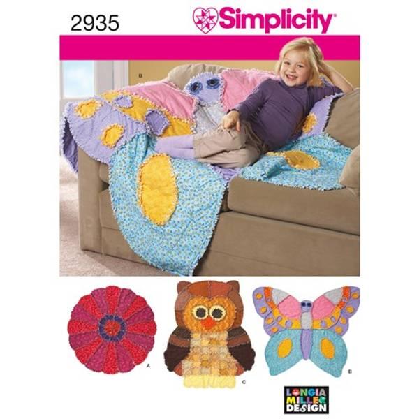 Simplicity 2935 Pledd som sommerfugl, blomst eller ugle