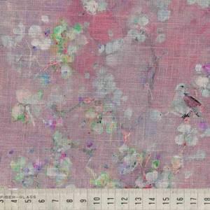 Bilde av Lin/viskose - fugl på blomstergren, rosa