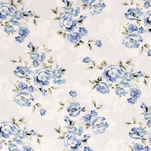 Bilde av Viskose/lin - store blå roser